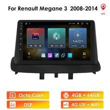Автомагнитола на Android 10 для Renault Megane 3 Fluence 2008-2014, мультимедийное видео, 4G, Wi-Fi, 2 Din, без DVD, автомагнитола