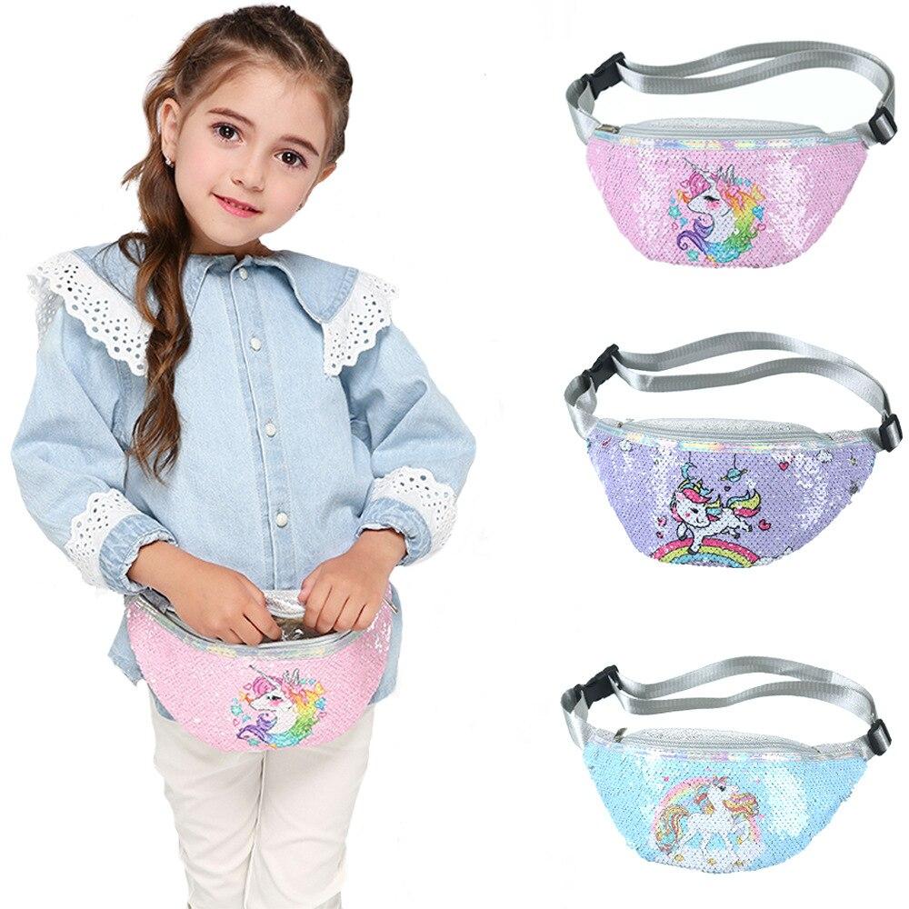 Children's Shoulder Bag Unicorn Printed Sequin Cartoon Waist Bag Little Girl Casual Sports Cute Chest Bags Mochila Mujer