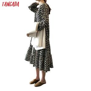 Женское платье миди с принтом Tangada, винтажное шифоновое платье с длинным рукавом, высокое качество, ASF32
