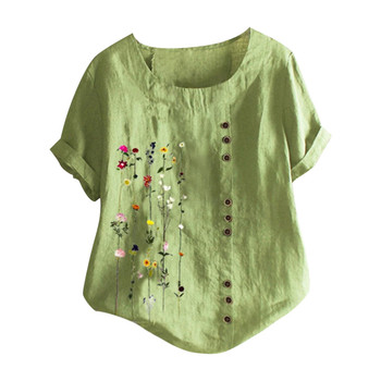 women's blouse Flowers Plus Size Women Bohemian Floral Embroidered Shirt Short Sleeves Top Blouse vintage clothes for wom 8