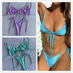 2020 women's swimsuit loop strap bikini double face plain swimsuit sexy bikini swimming pool party essential NEW