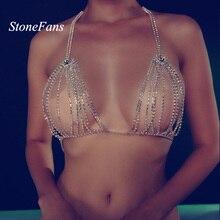 StoneFans Роскошный Кристалл бикини бюстгальтер грудь живот тела цепи ювелирные изделия для женщин цепочка для тела со стразами ожерелье бюстгальтер ювелирные изделия подарок