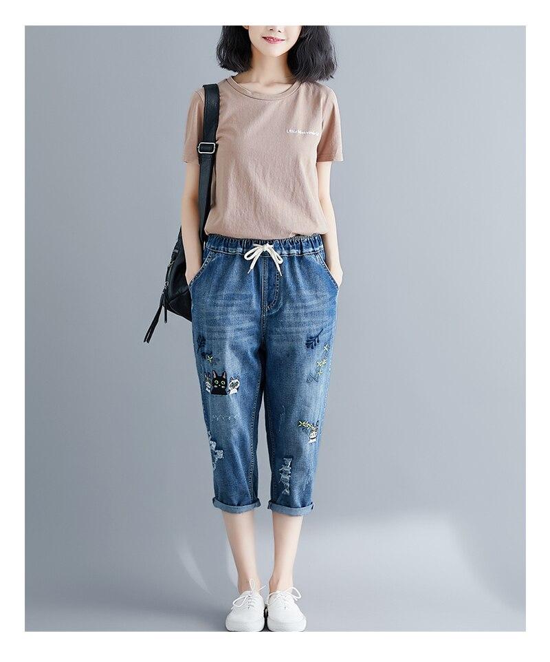 2019 été nouvelle taille élastique art sauvage poche broderie jeans cassés Harlan pantacourt femmes grande taille