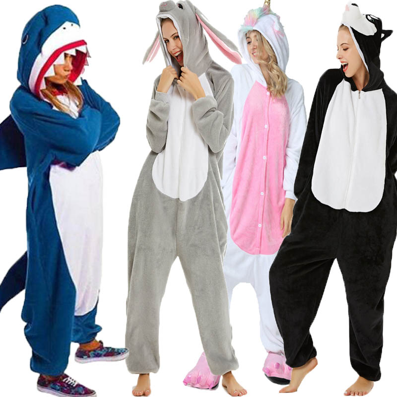 Kigurumi panda Unicorn Rogue Rabbit Bat Shark Winter Flannel Anime Pajamas  Onesie Adult Nightie