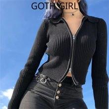 Женский свитер на молнии goth girl вязаный в полоску осень 2020