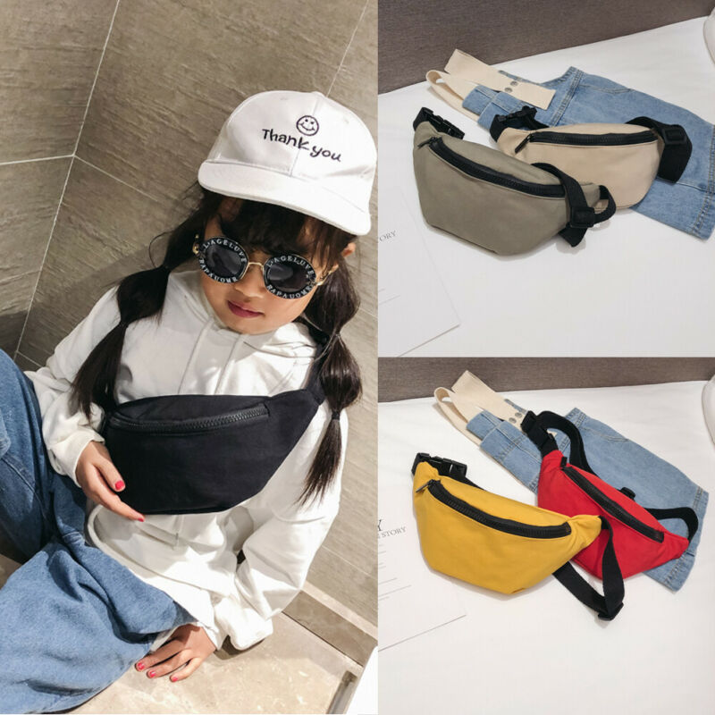 Fashion New Children Boy Girl Waist Pack Solid Zipper Nylon Casual Outdoor Traveling Walking Waist Bag 6 Colours