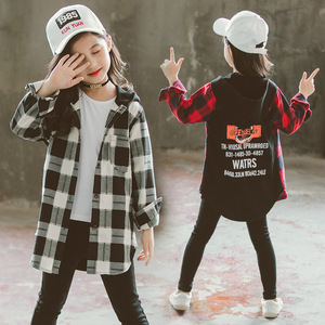 Image 1 - Girls School Blouses Autumn Spring 2020 Children Hoodies Plaid Shirt Long Sleeve Letter Print Tops for Toddler Baby Kids Clothes
