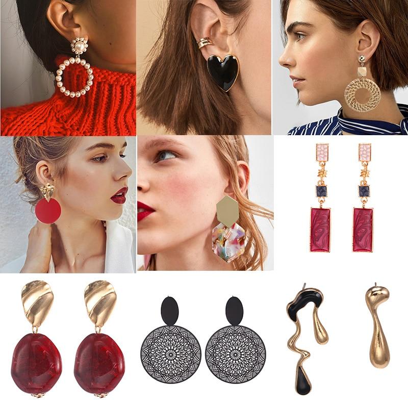 2019 Fashion Women Drop Earrings Unique Personality Vintage Puck ZA Style Statement Dangle Earring Boho Jewelry Modern Earrings