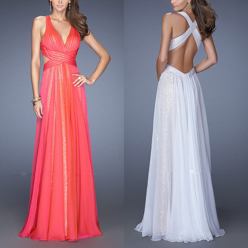 Arrival 2018 Floor Length V-Neck Pleated Prom Party Gown Criss-Cross Long Chiffon Backless Robe De Mariee Bridesmaid Dresses