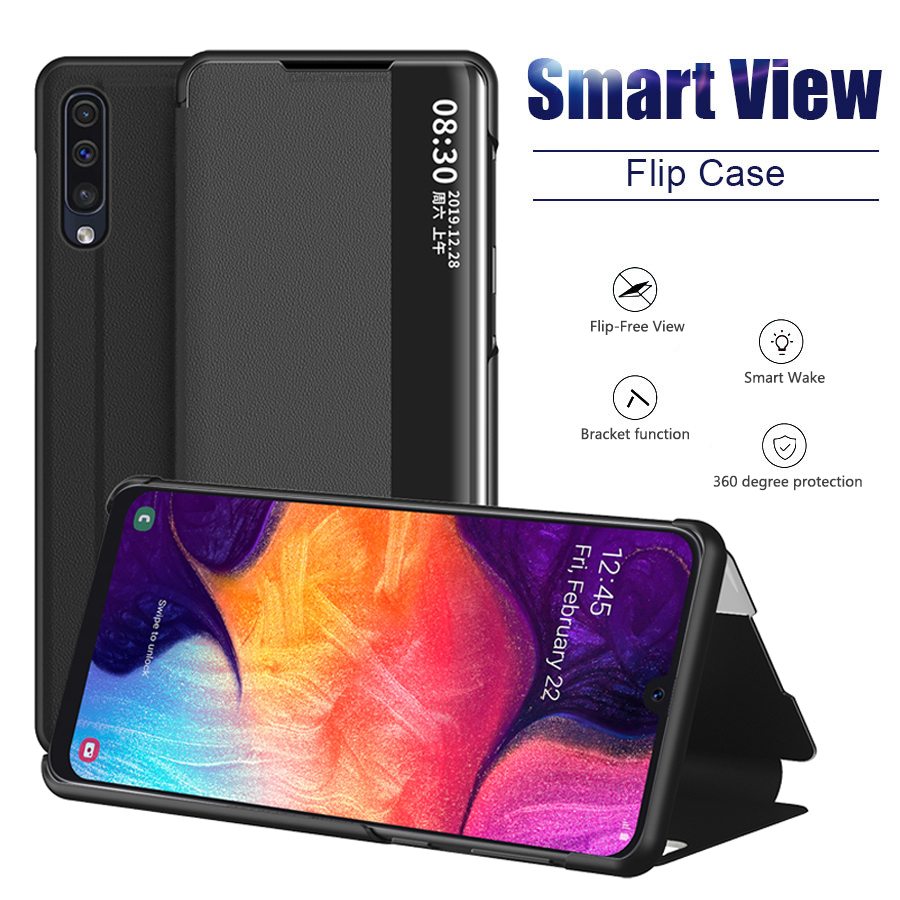 View Smart Flip Case For Samsung Galaxy A51 Fundas Luxury Original Magnetic Holder Leather Etui A 51 SM A515 A515F Phone Cover