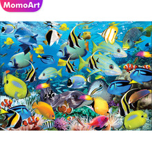 MomoArt Diamond Painting Cartoon Diamond Mosaic Sea Diamond Embroidery Full Square/round Cross Stitch Animal Weeding Decor цены