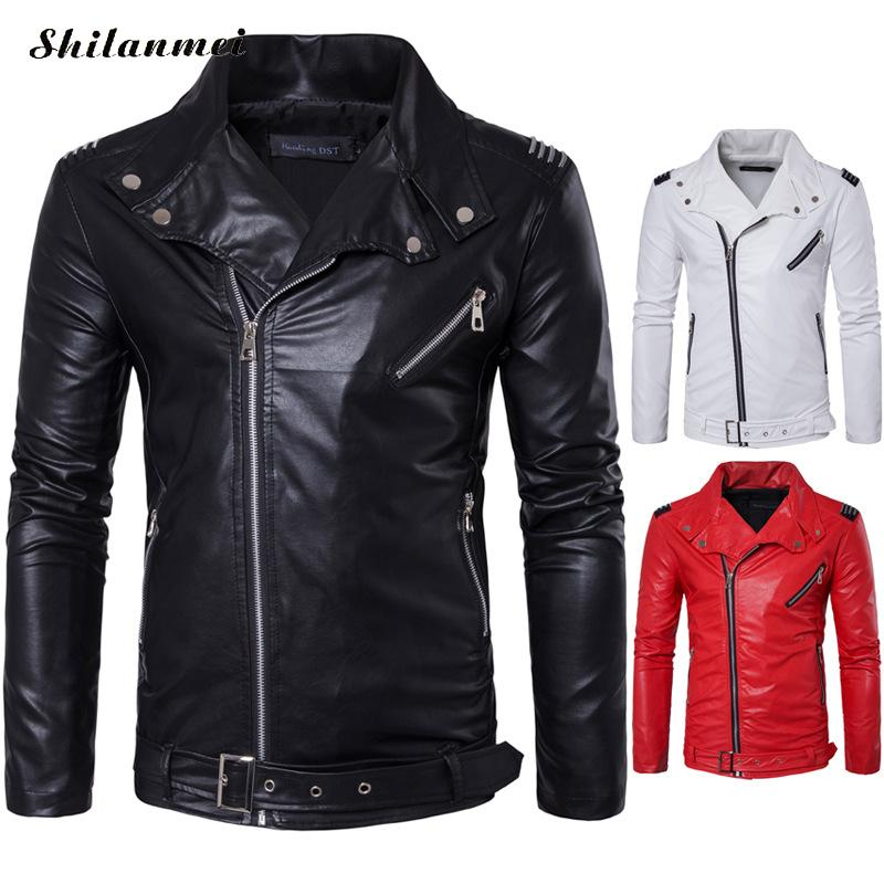Slim Red Leather Coat Men'S Pu Leather Jacket Men Solid Color Black Zipper White Punk Jacket Autumn Bomber Male Motorcycle Coat