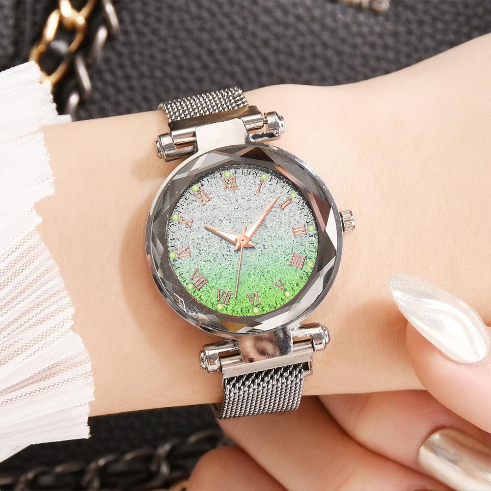Women Green Dial Watch Top Silver Mesh Magnetic Watch Luxury Starry Sky Ladies Quartz Wrist Watches Waterproof Female Clock Gift