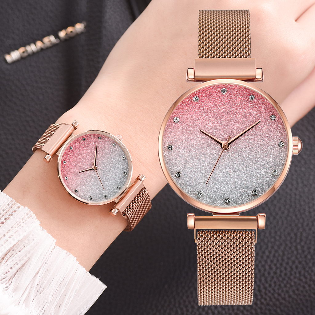 Fashionable Women Magnet Watches Luxury Ladies Alloy Strap Wristwatches Casual Female Starry SkyGradient Watch Relogio Feminino