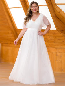 Wedding-Dresses Short-Sleeve Bride-Gowns Robe-De-Mariee Ever Pretty Plus-Size Formal