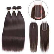 Fasci di capelli umani lisci peruviani marrone scuro 3 fasci con chiusura 2*4 fasci di capelli umani con chiusura