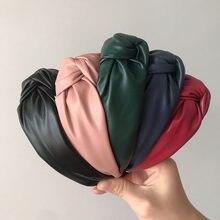 Moda de couro pu meninas hairbands médio nó headbands moda bandana de pele cabeça hoop cabelo feminino acessórios
