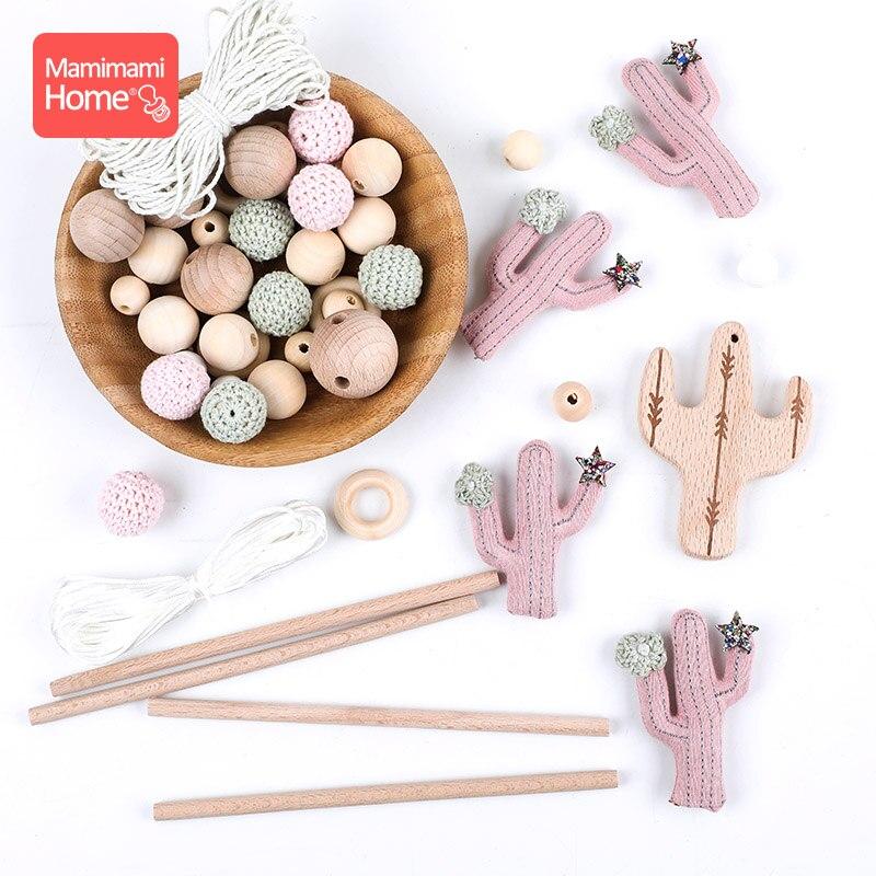 1Set Wooden Baby Crib Holder Rattle BPA Free Wood Bead Ring DIY Hanging Mobile Bed Bell Plush Cactus Baby Montessori Lullaby Toy