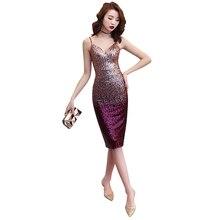 Evening Dress Sling V-neck Robe De Soiree 2019 Sleeveless Split Sequin Women Party Dresses Backless Formal Gowns F099