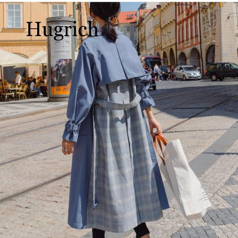 Spring Autumn Long Trench Coat Women Full Sleeve Casual Splice Plaid Loose Outerwear Lady 2020 Korean Fashion Belt Wind
