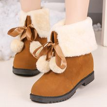 warm fur plush Insole Winter Boots for Women's Lace-Up Ankle Bare Boots Square Heel Casual Short Tube Warmer Hiking Snow Boots(China)