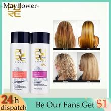 2PCS/Set Pure Brazilian Keratin Hair Repair And Straighten Damage Hair Products Brazilian Keratin Treatment + Purifying Shampoo