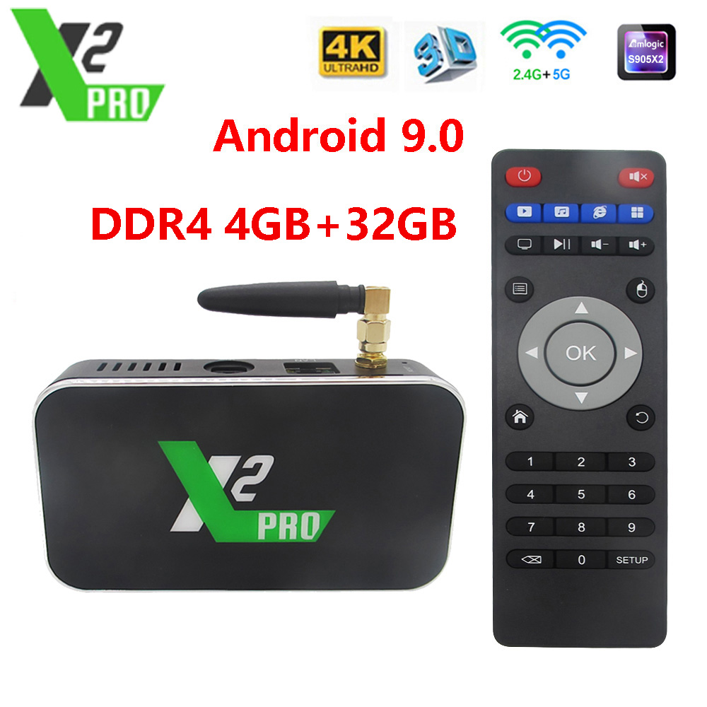 X2 cube 2.4G/5G WiFi 1000M LAN Smart Android TV Box Amlogic S905X2 4GB DDR4 32GB X2 Pro Android 9.0 décodeur 4K lecteur multimédia