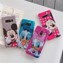 Para Samsung Galaxy S10 más S9 S8 Plus Nota 9 8 casos Minnie Daisy Mickey suave parejas Concha teléfono cubierta de dibujos animados cordón