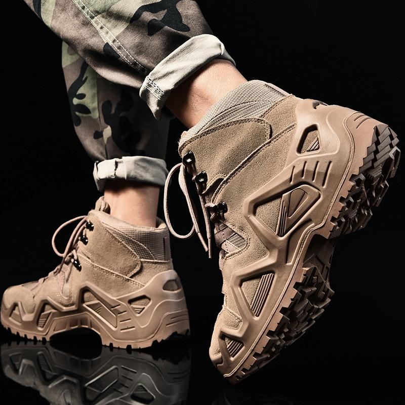 Армейские фанаты, боевые тактические сапоги, походная обувь, Мужская Уличная обувь для охоты, альпинизма, водонепроницаемые Нескользящие высокие военные ботинки - 2