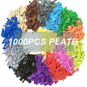 Image 1 - 1000pcs Building Rainbow Color Blocks Plate 8 Model Kits Playing Figures Pieces Compatible MOC Brick Toys for Kids Build Game