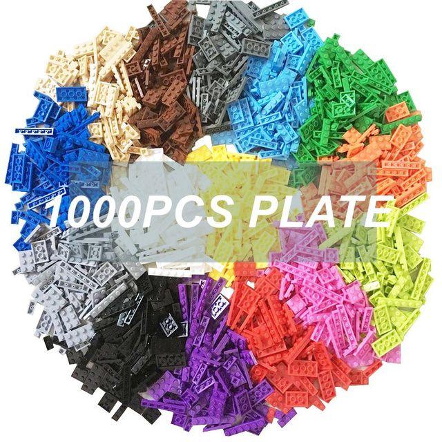 1000pcs Building Rainbow Color Blocks Plate 8 Model Kits Playing Figures Pieces Compatible MOC Brick Toys for Kids Build Game