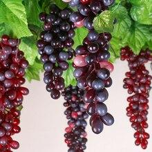 Черный/зеленый/красный/агат/фиолетовый моделирование с Мороз гроздь винограда Фото Модель зеленое растение украшение интерьера кулон
