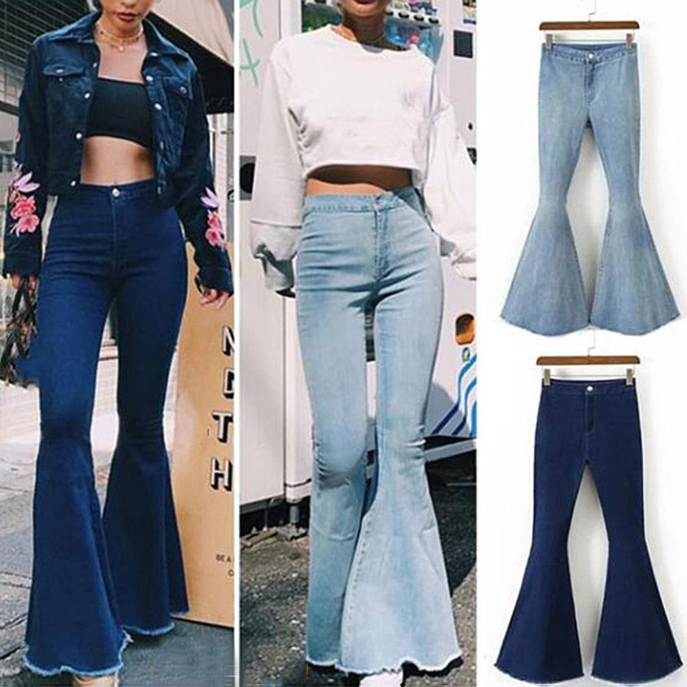 New Fashion Women Solid Color Sexy High Waist Slim Bell-bottoms Denim Pants Trousers