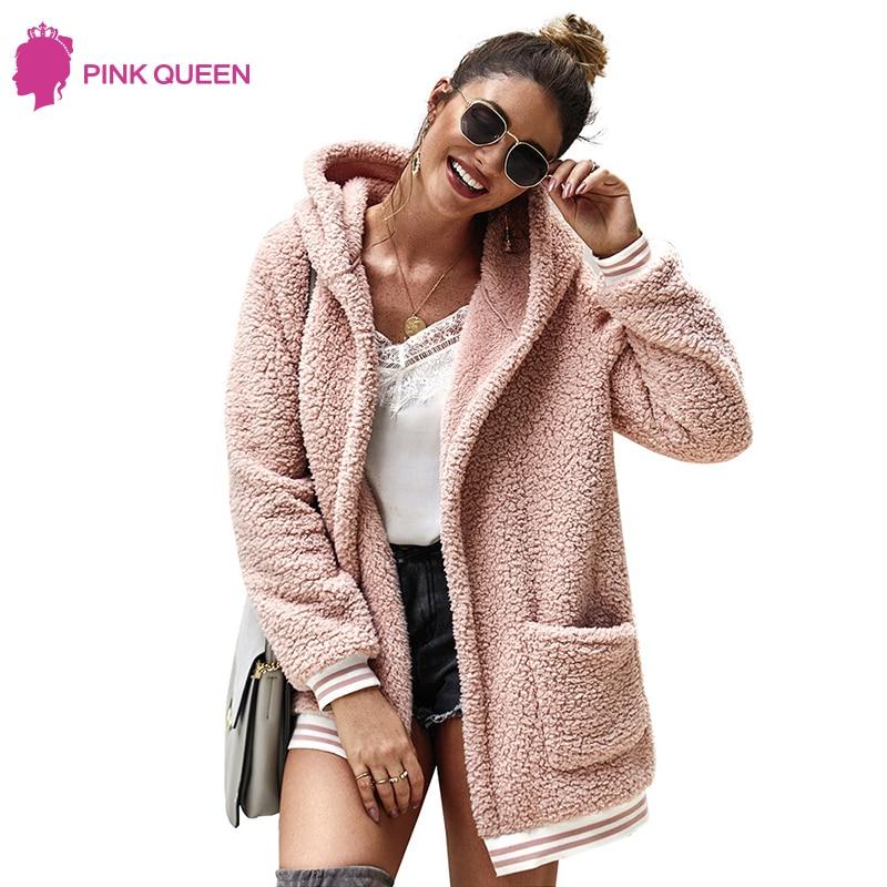 VEKDONE Women Color Block Fuzzy Winter Open Front Cardigan Oversized Sherpa Fleece Jacket Hooded Coat Outerwear