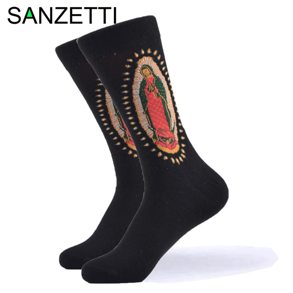SANZETTI 1 Pair New Happy Socks High Quality Men's Colorful Comfortable Combed Cotton Fun Oil Painting Gift Wedding Dress Socks