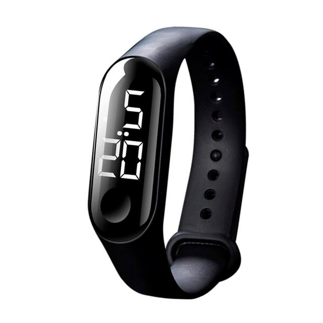 50MWaterproof Men Women Digital Watch LED Sport Watch Glass Dial Silicone Wristwatch