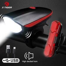 X-TIGER luz da bicicleta chifre luz da bicicleta sino de carregamento usb bicicleta luz ciclismo multifunções ultra brilhante 130db chifre sino