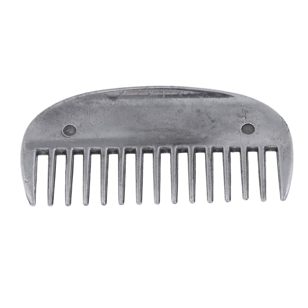 Metal Curry Comb Horse Pony Care Grooming Silver Outdoors Sports Tool 8x4cm