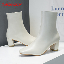 2019 New Sexy High Heel Boots Women Shoes Zip Leather Black White Female Fashion Ankle Elegant Western Cowboy