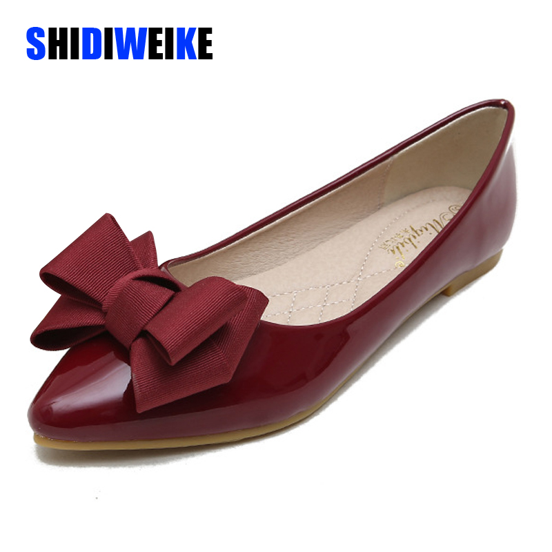 Summer Fashion Women's Flat Shoes Red Woman Flats Casual Loafers Soft Slip On Bow-knot Pointed Toe Daily Flat Big Size 43 AB052
