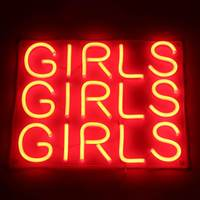 Pink Girls LED Neon Sign Light Bar Pub Club Wall Decor LED Tube Visual Artwork Party Decoration Neon Lamp Home Decor Night Light