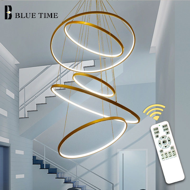 New Arrival Classical Circle Ring Led Modern Pendant Light For Living Room Bedroom White Black Silver Gold Frame Home Lighting