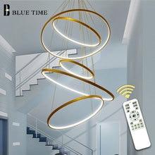 New Arrival Classical Circle Ring Led Modern Pendant Light For Living Room Bedroom White Black Silver Gold Frame Home Lighting