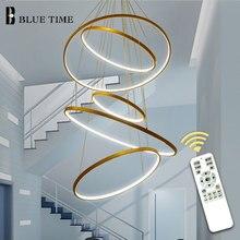 Nova chegada anel círculo clássico led moderno pingente de luz para sala estar quarto branco preto prata moldura ouro iluminação para casa