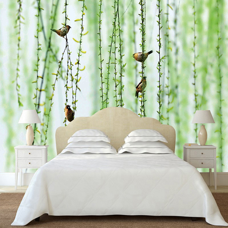 European Style Simple Green Rattan Trees Bird Mural Living Room Bedroom Sofa TV Backdrop Wallpaper Mural