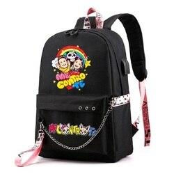 Anime Me contro Te Usb sacs d'école pour filles et garçons adolescents sac à dos sacs à dos noir grande capacité moyen collège supérieur Mochila