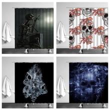 Art Design Shower Curtain Sugar Skull Smoke Organ Waterproof Bathroom Bathtub Decor Polyester Cloth Curtains Set With Hook Cheap