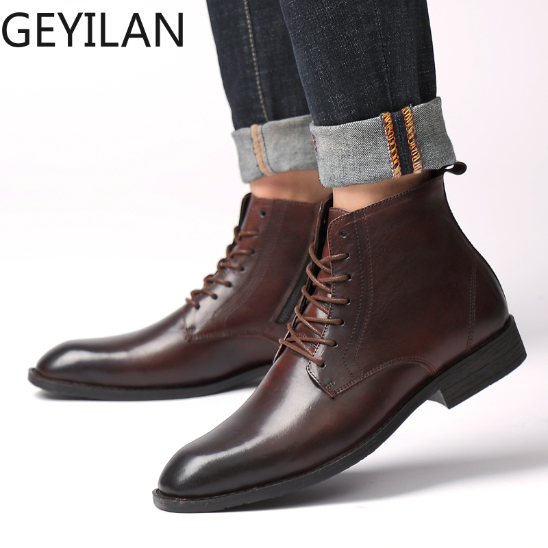 Mring Winter England Short Boots Business Men's Boots In Casual Martin Boots Men's Leather Boots Thick-soled Pointed Shoes