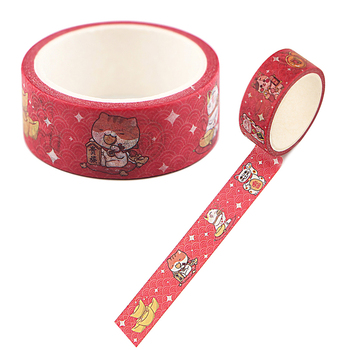 20pcs/lot Flyingbee 15mmX5m Paper Washi Tape Lucky Cat Funny Adhesive DIY Scrapbooking Sticker kawaii Masking X0334