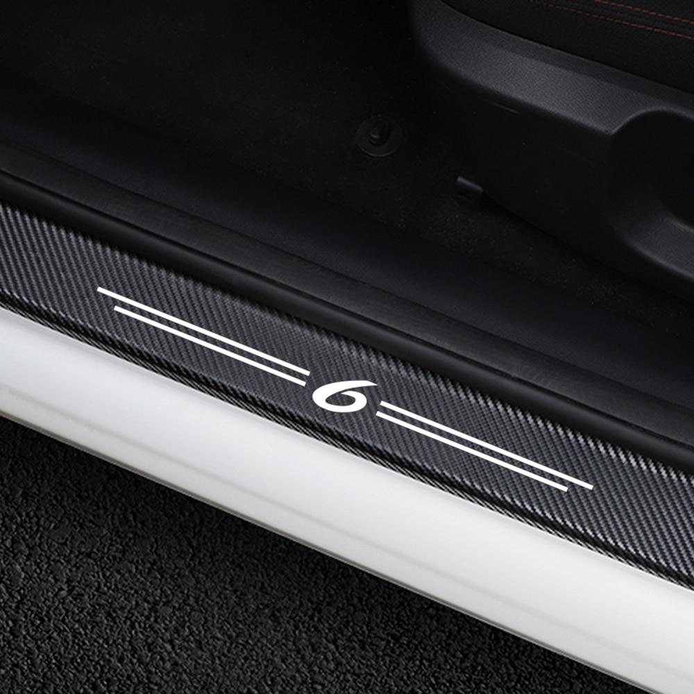 4PCS Auto Door Threshold Plate Anti-Scratch Stickers Door Sills Guards For Mazda 6 Car Carbon Fiber Protector Decor Accessories